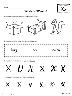 Letter X Which is Different Worksheet