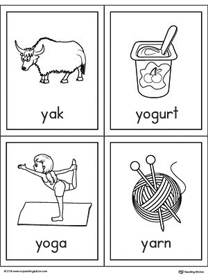 Letter Y Words and Pictures Printable Cards: Yak, Yogurt, Yoga