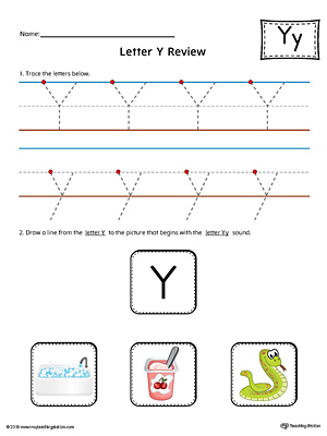Letter Y Review Worksheet (Color)