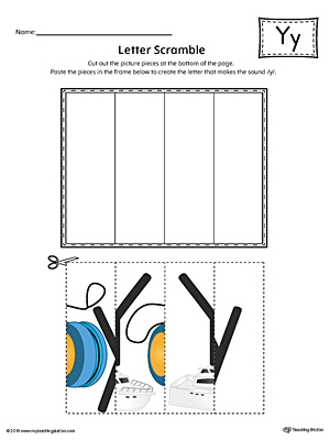Letter Y Scramble Worksheet (Color)