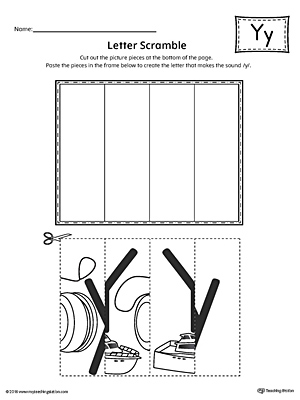 Letter Y Scramble Worksheet