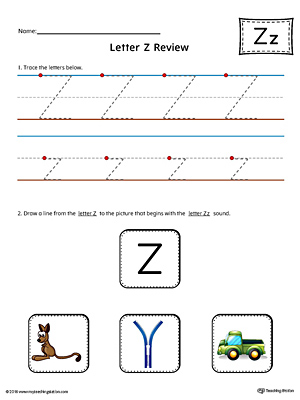 Use the Letter Z Review in Color worksheet to help your student practice tracing and the beginning sound of the letter Z.