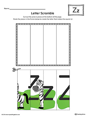 Letter Z Scramble Worksheet (Color)