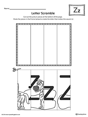 Letter Z Scramble Worksheet