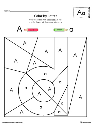 Lowercase letter a color by letter worksheet