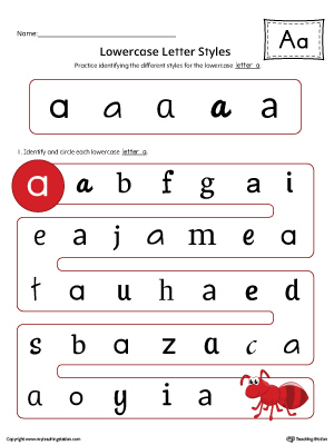 Lowercase Letter A Styles Worksheet (Color)
