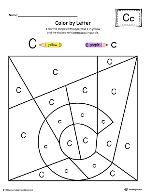 Lowercase Letter C Color-by-Letter Worksheet | MyTeachingStation.com