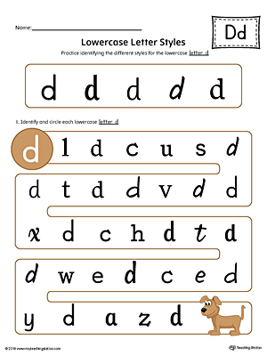 Lowercase Letter D Styles Worksheet (Color)