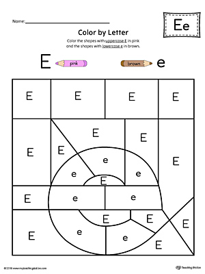 Lowercase Letter E Color-by-Letter Worksheet