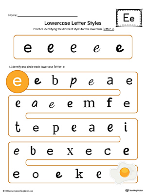 Lowercase Letter E Styles Worksheet (Color)