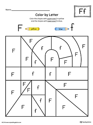 Lowercase Letter F Color-by-Letter Worksheet