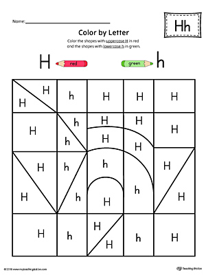 Lowercase Letter H Color by Letter Worksheet