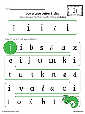 Lowercase Letter I Styles Worksheet (Color)