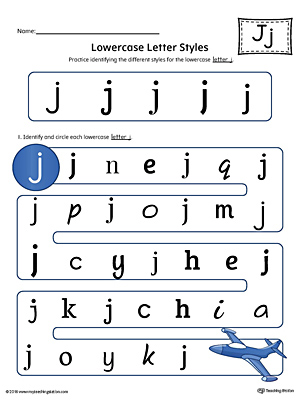 Lowercase Letter J Styles Worksheet (Color)