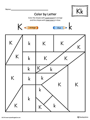 Lowercase Letter K Color-by-Letter Worksheet