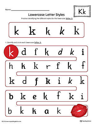 Lowercase Letter K Styles Worksheet (Color)
