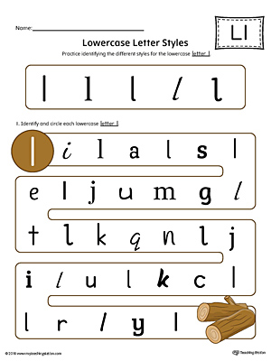 Lowercase Letter L Styles Worksheet (Color)