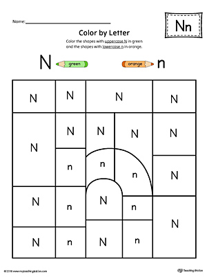 Lowercase Letter N Color-by-Letter Worksheet