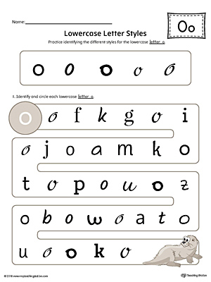 Lowercase Letter O Styles Worksheet (Color)