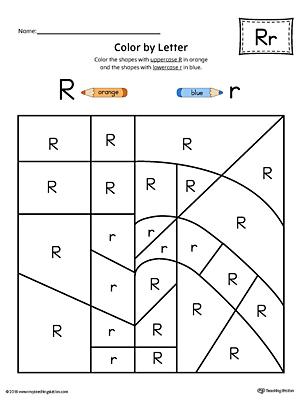 Lowercase Letter R Color-by-Letter Worksheet