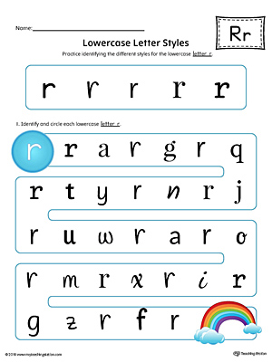 Lowercase Letter R Styles Worksheet (Color)