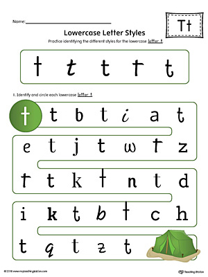Lowercase Letter T Styles Worksheet (Color)