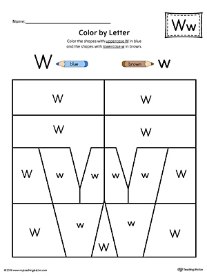 Lowercase Letter W Color-by-Letter Worksheet