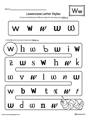 Lowercase Letter W Styles Worksheet