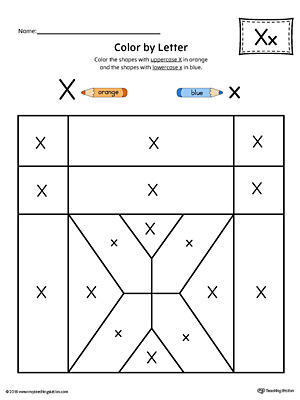 Lowercase letter x color by letter worksheet