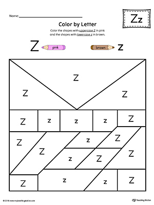 Lowercase Letter Z Color-by-Letter Worksheet