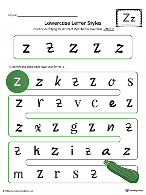Lowercase Letter Z Styles Worksheet (Color)