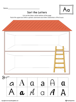 Sort the Uppercase and Lowercase Letter A Worksheet (Color)
