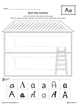 Sort the Uppercase and Lowercase Letter A Worksheet