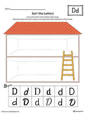 Sort the Uppercase and Lowercase Letter D Worksheet (Color)