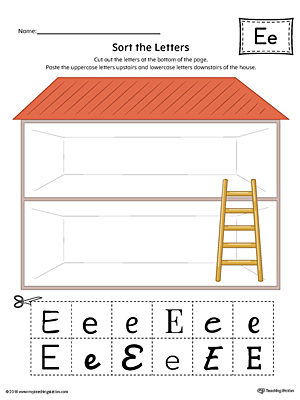 Sort the Uppercase and Lowercase Letter E Worksheet (Color)