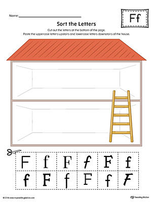 Sort the Uppercase and Lowercase Letter F Worksheet (Color)