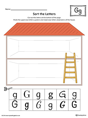 Sort the Uppercase and Lowercase Letter G Worksheet (Color)