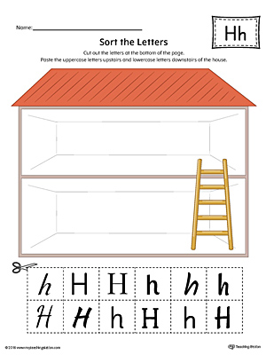 Sort the Uppercase and Lowercase Letter H Worksheet (Color)