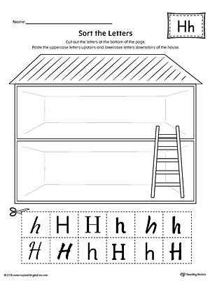 sort the uppercase and lowercase letter h worksheet. Black Bedroom Furniture Sets. Home Design Ideas