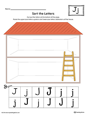 Sort the Uppercase and Lowercase Letter J Worksheet (Color)