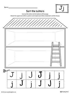 Sort the Uppercase and Lowercase Letter J Worksheet