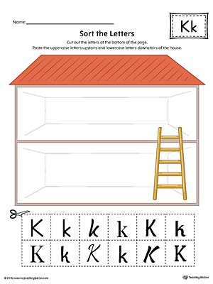Sort the Uppercase and Lowercase Letter K Worksheet (Color)