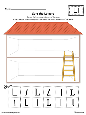 Sort the Uppercase and Lowercase Letter L Worksheet (Color)