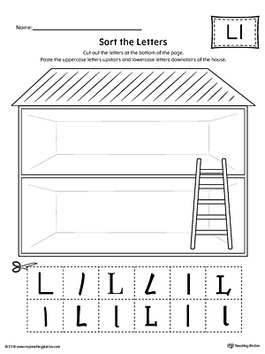 Sort the Uppercase and Lowercase Letter L Worksheet