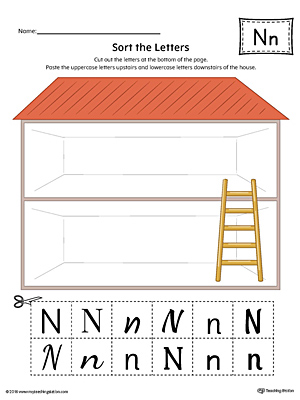 Sort the Uppercase and Lowercase Letter N Worksheet (Color)