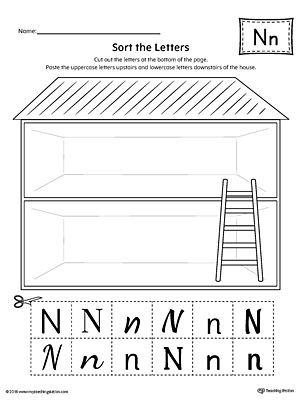 Sort the Uppercase and Lowercase Letter N Worksheet