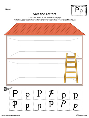 Sort the Uppercase and Lowercase Letter P Worksheet (Color)