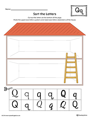 Sort the Uppercase and Lowercase Letter Q Worksheet (Color)