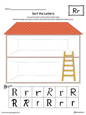 Sort the Uppercase and Lowercase Letter R Worksheet (Color)