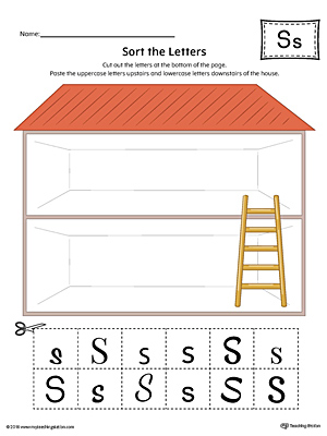 Sort the Uppercase and Lowercase Letter S Worksheet (Color)